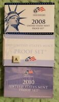 2008 2009 2010 United States Mint Proof Sets Complete w/ Box & COA *46 coins #91