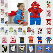 Newborn Baby Boy Girl Superman Cartoon Romper Bodysuit Jumpsuit Outfits Costume