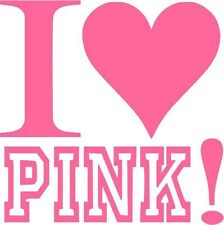 "I Love Pink Car Window Decor Vinyl Decal Sticker- 6"" Wide White"