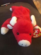 TY Beanie Baby - Original Snort (style 4002) - Red, Bull - Retired
