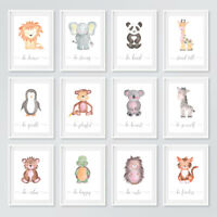 Safari Animal Baby Nursery Prints Set Childrens Bedroom Wall Art Pictures Decor
