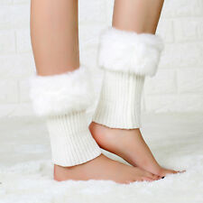 Women Lady Winter Leg Warmers Crochet Knit Fur Trim Boot Socks Toppers Cuffs I68