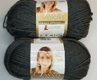 Lion Brand VANNA'S CHOICE Yarn ~ Charcoal Grey ~ Lot of *2* New Skeins