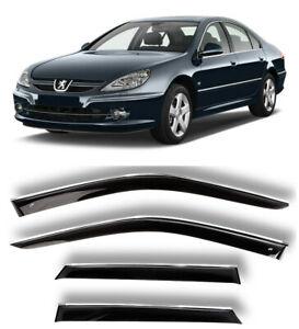Chrome Trim Window Visors Guard Vent Deflectors For Peugeot 607 l Sd 1999-2010