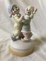 Vintage Porcelain Dancing Clowns Wind-up Music Box Musical Whistle a Happy Tune