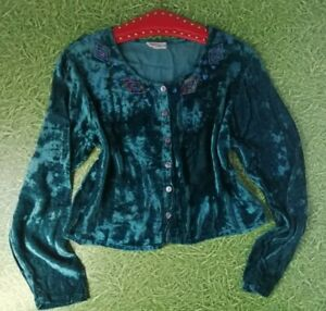 Vintage 80s crushed velvety embroidered cardigan Button up blouse made in India