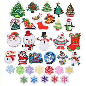 Christmas Xmas Embroidered Iron On Sew On Applique Patches Badge Transfers Motif