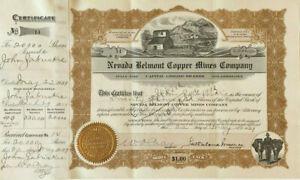 Nevada Belmont Copper Mines Company >1909 Arizona Manhattan stock certificate
