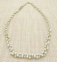 Crown Trifari Faux Pearl White Bead Beaded Gold Tone Twisted Necklace