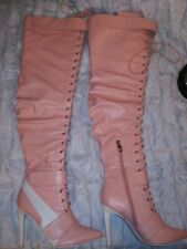 Cape Robbin Gigi's Tall Pink And White Thigh High Lace-up Boots Size 7.5
