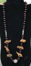 Hand carved Animal Necklace 26� Wooden Vintage African Style Boho