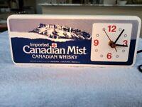 VINTAGE CANADIAN MIST LIGHTED  BAR  / REGISTER TOP CLOCK