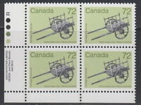 CANADA #1083 72¢ Artifact - Hand-Drawn Cart LL Inscription Block MNH