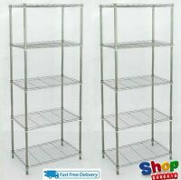 5 Tier Silver Metal Storage Rack/Shelving Wire Shelf Kitchen/Office Unit 160 cm