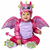 Baby Girl Pink Dragon Jumpsuit Wings Tail Halloween Costume Infant Toddler 0-24