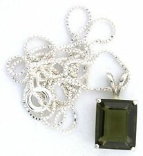 3.35 Carat 11x9 Emerald Moldavite Gemstone Sterling Silver Pendant Chain EBS2500