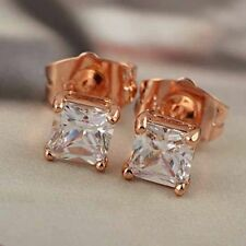 G708 Classic 9K Rose Gold Filled CZ Square Stud Earrings,