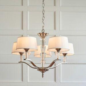 5 Light Chandelier Chrome & Crystal Detail - Vintage White Shades Dia: 65cm