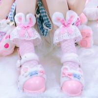 Womens Japanese Sock Lolita Mori Girls Lace Bow Kawaii Mid Socks Jk Uniform Sock