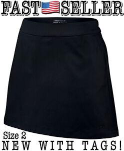 Nike Women's Size 2 Tournament Golf Skort Skirt W/ Undershorts, Black NEW W/TAGS