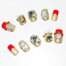 Acrylic Nail Art Elegant Crystal Bride Wedding Tips Different Pattern Party Red