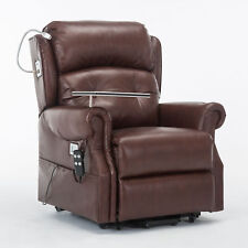 Stanbury Leather Dual Motor Riser Recliner Chair With Table USB and Reading Lamp