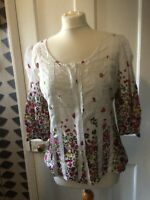 PER UNA SIZE 10 WHITE FLORAL COTTON 3/4 SLEEVE BLOUSE/SMOCK TOP