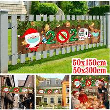 2020 Merry Christmas Banner Santa Claus Quarantine Outdoor Survivor Banner Decor