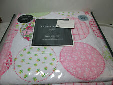 Laura Ashley Kids BAYLIE PATCHWORK Floral Twin Quilt Set ~ Pink, White, Yellow