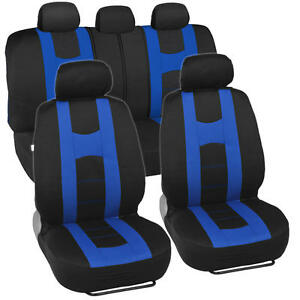 """Sporty Seat Covers for Car SUV """"Rome Sport"""" Racing Style Stripes Black & Blue"""