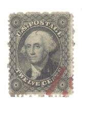Scott 36 Early US Stamp 12c  Washington ...1861-62.. RED CANCEL