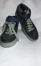 Lanvin Men's Shoe Sneaker Royal Blue/Gray Paint Blotch Detail Fastening Size 8