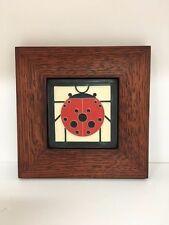 Motawi Ladybug Art Tile in a Family Woodworks Oak Park Arts & Crafts Frame
