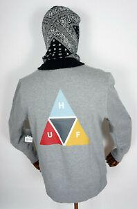 Huf Worldwide Sweatshirt Crewneck Pullover Crew Prism Triangle Grey Heather in S