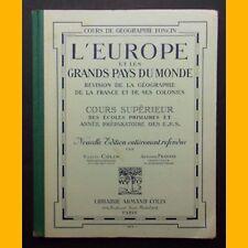 L'EUROPE ET LES GRANDS PAYS DU MONDE Géographie Cours sup. école primaire 1934