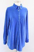 Soft Surroundings Womens Blue Velvet Button Front Boyfriend Shirt Blouse Size M