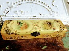 Antique Celluloid Glove/hanky Box Victorian couples Spider webs