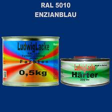 Enzianblau RAL 5010 Acryllack 0,75 kg glänzend & Härter Autolack Qualität