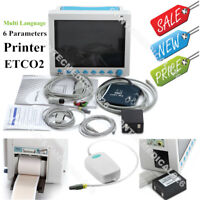 ICU CCU Patient Monitor 6 Parameters Vital Signs Monitor Printer ETCO2 Stand Bag