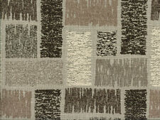 Designer Upholstery Fabric Heavy Wt. Chenille Jacquard Brick Design - Taupe
