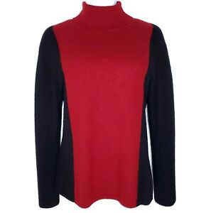 Color Block Sweater Large Angora Wool Cashmere Vintage 90s The Look Red Black