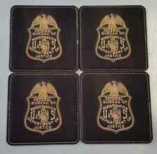 "FBI DOJ Federal Bureau of Investigation 4"" Black Leather Coasters Set of 4"