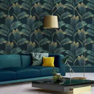 Kailana Tropical Leaves Dark Navy Blue Green Palm Leaf Jungle Feature Wallpaper