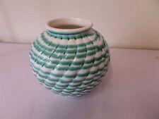 seltene GMUNDNER Keramik schöne bauchige gerillte kugelförmige VASE grün geflamm