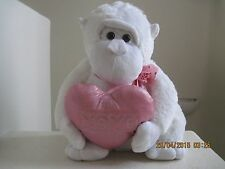 "Atico SWEET MONKEY PINK HEART XOXO 16"" Plush Stuffed Animal White"