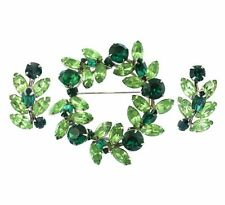 Signed Sherman Green Rhinestone Wreath Brooch and Earring Set