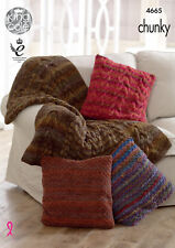 King Cole Chunky Knitting Pattern Throw & Cable Moss Stitch Cushion Covers 4665