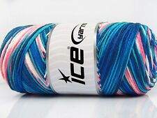 Lot of 2 x 200gr Skeins Ice Yarns SAVER COLOR LIGHT Yarn Navy Salmon White Tu...