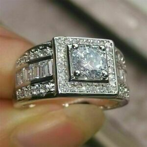 3.20 Ct Round Cut Diamond Engagement Halo Men's Ring Solid 14k White Gold FN