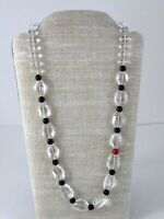 Vintage Clear Rock Crystal Quartz Black Onyx One Red Bead Strand Necklace
